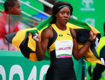 Lima, Thursday August 8, 2019 -  Shericka Jackson from Jamaica celebrates after win in Women's 400m Final in Athletics at Villa Deportiva Nacional - VIDENA during  the Pan American Games Lima 2019. Copyright Hector Vivas / Lima 2019  Mandatory credits: Lima 2019  **NO SALES  NO ARCHIVES **
