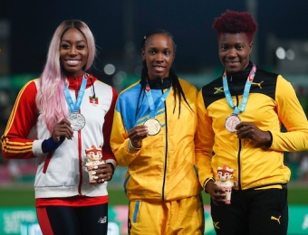 Lima, Thursday August 8, 2019 - Priscilla Frederick from Antigua and Barbuda, silver medal, Donaline Spencer from San Lucia, gold medal, and Ashes William from Jamaica, bronze medal,  during Award Ceremony in Women's High Jump Final in Athletics at Villa Deportiva Nacional - VIDENA during  the Pan American Games Lima 2019. Copyright Hector Vivas / Lima 2019  Mandatory credits: Lima 2019  **NO SALES  NO ARCHIVES **