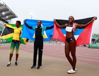 Lima, Thursday August 8, 2019 - Kimberly Williamson from Jamaica, Donaline Spencer from San Lucia and Priscilla Frederick from Antigua and Barbuda celebrate after run in Women's High Jump Final in Athletics at Villa Deportiva Nacional - VIDENA during  the Pan American Games Lima 2019. Copyright Hector Vivas / Lima 2019  Mandatory credits: Lima 2019  **NO SALES  NO ARCHIVES **
