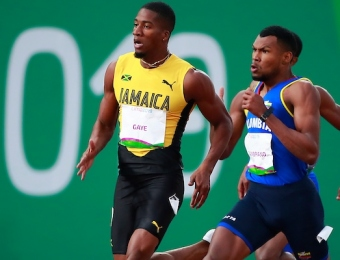 Lima, Thursday August 8, 2019 - Denvo Gaye from Jamaica and Anthony Zambrano from Colombia compete in Men's 400m Final in Athletics at Villa Deportiva Nacional - VIDENA during  the Pan American Games Lima 2019. Copyright Hector Vivas / Lima 2019  Mandatory credits: Lima 2019  **NO SALES  NO ARCHIVES **