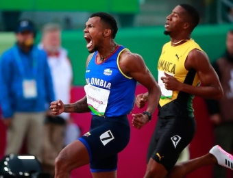 Lima, Thursday August 8, 2019 - Anthony Zambrano from Colombia celebrates after win in Men's 400m Final in Athletics at Villa Deportiva Nacional - VIDENA during  the Pan American Games Lima 2019. Copyright Hector Vivas / Lima 2019  Mandatory credits: Lima 2019  **NO SALES  NO ARCHIVES **