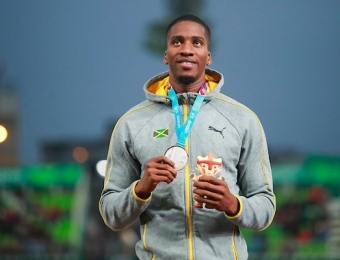 Lima, Thursday August 8, 2019 -  Denvo Gaye from Jamaica, silver medal, during Award Ceremony in Men's 400m Final in Athletics at Villa Deportiva Nacional - VIDENA during  the Pan American Games Lima 2019. Copyright Hector Vivas / Lima 2019  Mandatory credits: Lima 2019  **NO SALES  NO ARCHIVES **