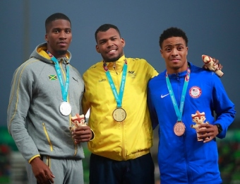 Lima, Thursday August 8, 2019 -  Denvo Gaye from Jamaica, silver medal, Jose Zambrano from Colombia, gold medal, and Justin Robinson from USA during Award Ceremony in Men's 400m Final in Athletics at Villa Deportiva Nacional - VIDENA during  the Pan American Games Lima 2019. Copyright Hector Vivas / Lima 2019  Mandatory credits: Lima 2019  **NO SALES  NO ARCHIVES **