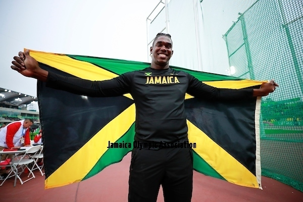 Lima, Tuesday, August 6, 2019 - Andray Dacres from Jamaica, gold medal, celebrates after competition in Men's Discus Throw Final in Athletics at the Lima 2019 at Villa Deportiva Nacional - VIDENA during the Pan American Games Lima 2019. Copyright Héctor Vivas / Lima 2019  Mandatory credits: Lima 2019 ** NO SALES ** NO ARCHIVES **