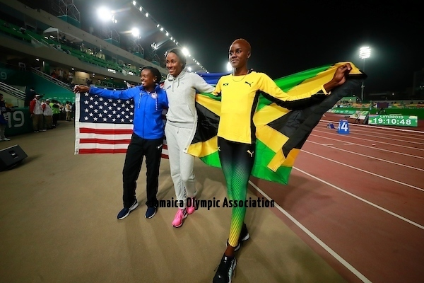 Lima, Tuesday, August 6, 2019 - Keturah Orji from USA, Chantal Malone from Virgin Islands British and Tissana Hickling from Jamaica celebrate after win in Women's Long Jump Final in Athletics at the Lima 2019 at Villa Deportiva Nacional - VIDENA during Pan American Games Lima 2019 Copyright Héctor Vivas / Lima 2019  Mandatory credits: Lima 2019 ** NO SALES ** NO ARCHIVES **