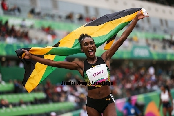 Lima, Tuesday, August 7, 2019 - Natoya Goule from Jamaica celebrates winning in Women's 800m Final in Athletics at the Lima 2019 at Villa Deportiva Nacional - VIDENA during the Pan American Games Lima 2019.Copyright Gabriel Heusi / Lima 2019Mandatory credits: Lima 2019** NO SALES ** NO ARCHIVES **