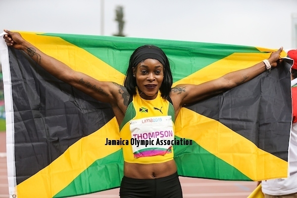 Lima, Tuesday, August 7, 2019 -   Elaine Thompson from Jamaica competes in Women's 100 m Final in Athletics at the Lima 2019 at Villa Deportiva Nacional - VIDENA during the Pan American Games Lima 2019.Copyright Gabriel Heusi / Lima 2019Mandatory credits: Lima 2019** NO SALES ** NO ARCHIVES **