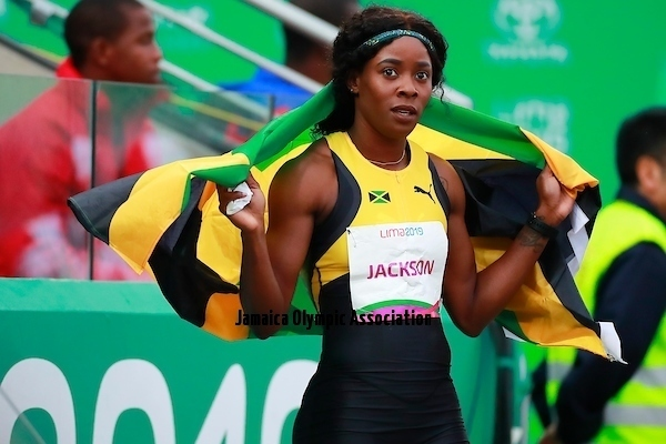 Lima, Thursday August 8, 2019 -  Shericka Jackson from Jamaica celebrates after win in Women's 400m Final in Athletics at Villa Deportiva Nacional - VIDENA during  the Pan American Games Lima 2019.Copyright Hector Vivas / Lima 2019Mandatory credits: Lima 2019 **NO SALES  NO ARCHIVES **