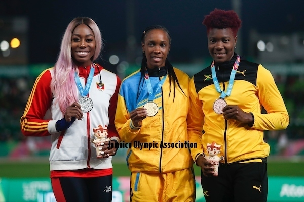 Lima, Thursday August 8, 2019 - Priscilla Frederick from Antigua and Barbuda, silver medal, Donaline Spencer from San Lucia, gold medal, and Ashes William from Jamaica, bronze medal,  during Award Ceremony in Women's High Jump Final in Athletics at Villa Deportiva Nacional - VIDENA during  the Pan American Games Lima 2019.Copyright Hector Vivas / Lima 2019Mandatory credits: Lima 2019 **NO SALES  NO ARCHIVES **