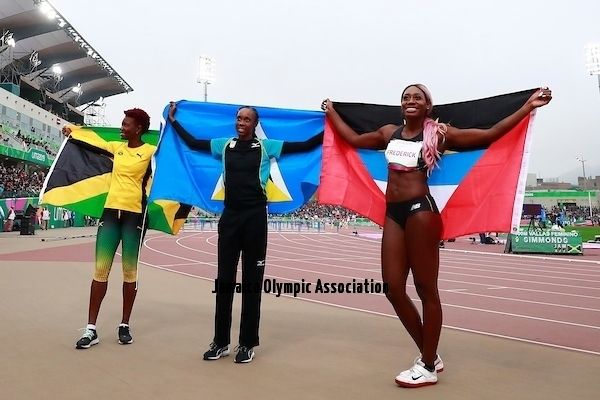 Lima, Thursday August 8, 2019 - Kimberly Williamson from Jamaica, Donaline Spencer from San Lucia and Priscilla Frederick from Antigua and Barbuda celebrate after run in Women's High Jump Final in Athletics at Villa Deportiva Nacional - VIDENA during  the Pan American Games Lima 2019.Copyright Hector Vivas / Lima 2019Mandatory credits: Lima 2019 **NO SALES  NO ARCHIVES **