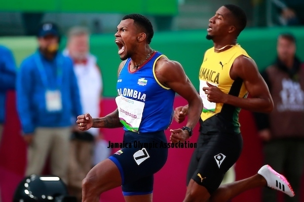 Lima, Thursday August 8, 2019 - Anthony Zambrano from Colombia celebrates after win in Men's 400m Final in Athletics at Villa Deportiva Nacional - VIDENA during  the Pan American Games Lima 2019.Copyright Hector Vivas / Lima 2019Mandatory credits: Lima 2019 **NO SALES  NO ARCHIVES **