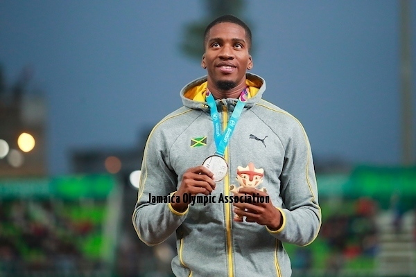 Lima, Thursday August 8, 2019 -  Denvo Gaye from Jamaica, silver medal, during Award Ceremony in Men's 400m Final in Athletics at Villa Deportiva Nacional - VIDENA during  the Pan American Games Lima 2019.Copyright Hector Vivas / Lima 2019Mandatory credits: Lima 2019 **NO SALES  NO ARCHIVES **