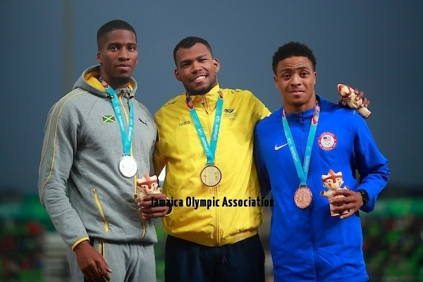 Lima, Thursday August 8, 2019 -  Denvo Gaye from Jamaica, silver medal, Jose Zambrano from Colombia, gold medal, and Justin Robinson from USA during Award Ceremony in Men's 400m Final in Athletics at Villa Deportiva Nacional - VIDENA during  the Pan American Games Lima 2019.Copyright Hector Vivas / Lima 2019Mandatory credits: Lima 2019 **NO SALES  NO ARCHIVES **